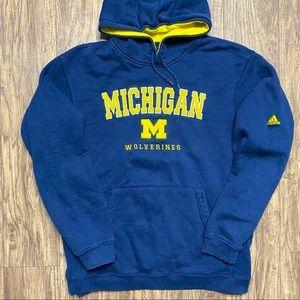 Vintage Adidas University Of Michigan Wolverines Embroidered Hoodie Sweatshirt